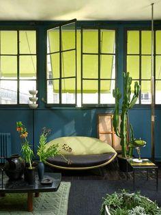 Bleu canard bois clair et plantes vertes