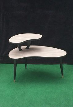 Two tier mid century modern atomic era palette or kidney shaped