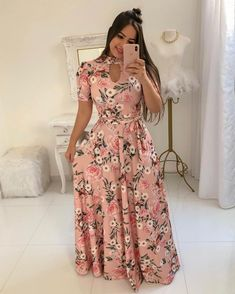 The Bambi dress is a boho-chic dream with a v-neckline, short flow sleeves that's perfect for summer. The A-line maxi dress is the ultimate piece for Sunday brunch with the girls. Elegant Dresses For Women, Cute Dresses, Maxi Dresses, Trend Fashion, Fashion Outfits, Long Gown Dress, Wrap Dress, Necklines For Dresses, Floral Maxi Dress