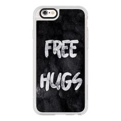 Free Hugs Black Modern Brushstroke Typography on Grunge Paint - iPhone... ($40) ❤ liked on Polyvore featuring accessories, tech accessories, iphone case, iphone cases, iphone hard case, apple iphone cases and iphone cover case