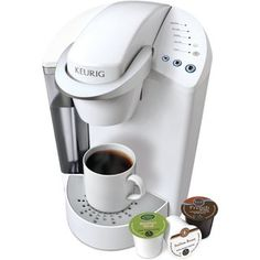 @Overstock - Keurig K45 White Elite Brewing System with Bonus 12 K-cups and Water Filter Kit - Enjoy a perfect cup of gourmet coffee anytime with this K45 Elite single serve home brewing system by Keurig. Constructed with a durable ABS plastic housing, this machine is a convenient way to make a fresh cup of coffee in your home, office or ...