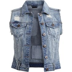 Vila Vifever - Denim Waistcoat ($44) ❤ liked on Polyvore featuring outerwear, vests, jackets, tops, medium blue denim, denim waistcoat, blue denim vest, vila, blue vest and waistcoat vest