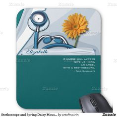 """Nurses Day / Nurses Week / Graduation from Nursing school / Nurse Appreciation Stethoscope and Spring Daisy design Gift Mousepads for Nurses with personalized name and the quote """"A nurse will always give us hope, an angel with a stethoscope"""" of Terri Guillemets. Matching cards, postage stamps and other products available in the Business Related Holidays / Nurses Day Category of the artofmairin store at zazzle.com"""