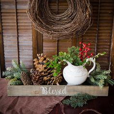 A Modern Cornucopia Project Suitcase Packing, Burlap Table Runners, Do It Yourself Crafts, Holiday Tables, Art Of Living, Grapevine Wreath, Christmas Decorations, Christmas Ideas, Grape Vines