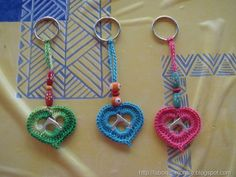 crochet key chains made with can soda tabs