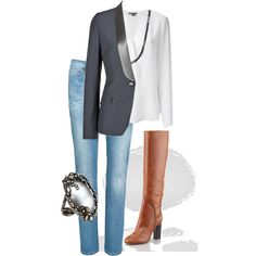 A fashion look from December 2014 featuring Vince blouses, Maison Martin Margiela blazers and Levi's jeans. Browse and shop related looks.