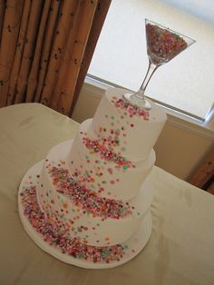 Confetti Cake.. love this! - @Katelyn Robles I'll be making this for your bachelorette party....with zebra striped cake.