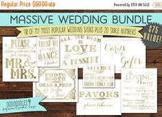 70% CLEARANCE THRU 8/20 Gold Wedding Signs Bundle by dodidoodles