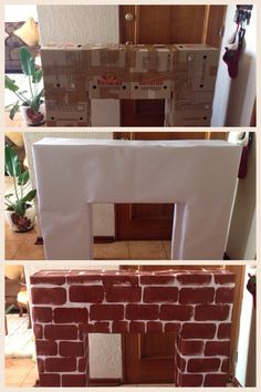 Here& how to make a cardboard fireplace for Christmas: 20 extraordinary ideas . Here& how to make a cardboard fireplace for Christmas: 20 extraordinary ideas. Presents: Christmas is coming Christ. Fake Fireplace, Christmas Fireplace, Christmas Mantels, Noel Christmas, Christmas Ornaments, Grinch Christmas Decorations, Easy Christmas Crafts, Ward Christmas Party, Cardboard Fireplace