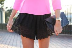 little black lace shorts