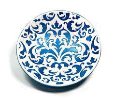 Damask Wedding Ring Dish polymer clay Dish Teal Blue Jewelry