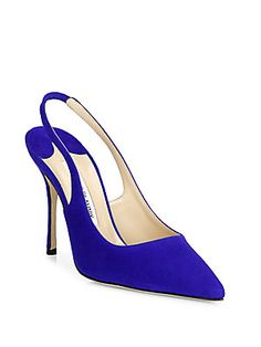 Manolo Blahnik Aziamo Suede Point Toe Slingbacks