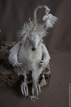 """Ворона белая """"Бэлла"""" - белый,белая ворона,авторская ворона,текстильная ворона"""