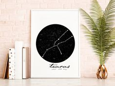 Taurus Gifts Celestial Decor, Black and White Constellation Print Wall Art Sets, Large Wall Art, Wall Art Prints, White Wall Decor, Black Decor, White Art, Black And White, Scandinavian Art, Simple Lines