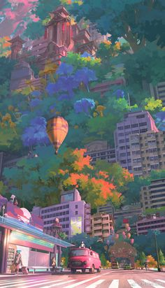 Art by Star Academy Anime Backgrounds Wallpapers, Anime Scenery Wallpaper, Aesthetic Pastel Wallpaper, Cute Anime Wallpaper, Animes Wallpapers, Cute Wallpapers, Aesthetic Wallpapers, Artistic Wallpaper, Fantasy Art Landscapes