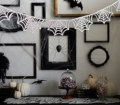 Silver Spiderweb Garland - Drape your walls with festive, Halloween flair that the entire family will love. Made from soft felt and finished with glitter, our one-of-a-kind garland is inspired by an intricate, glistening spiderweb. Chic Halloween, Halloween Items, Halloween Boo, Halloween Season, Halloween Design, Holidays Halloween, Happy Halloween, Halloween Decorations, Halloween Clearance