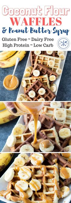Coconut Flour Waffles – Chocolate and Original Coconut Flour Waffles both plain & chocolate, drizzled with a peanut butter syrup that is literally to die for! Both versions are & Gluten Free Recipes For Breakfast, Low Carb Breakfast, Dairy Free Recipes, Low Carb Recipes, Real Food Recipes, Breakfast Skillet, Breakfast Ideas, Hashbrown Breakfast, Detox Breakfast