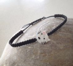 Cat charm black macrame bracelet friendship by keepcalmandbeadon, Macrame Bracelets, Friendship Bracelets, Charmed, Cat, Trending Outfits, Unique Jewelry, Handmade Gifts, Vintage, Black