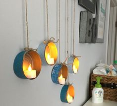 tuna can tea light hangers