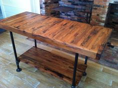 Antique Butcher Block Table With Metal Base And Lower