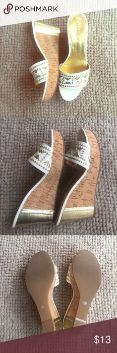 7ebbba3f20 Marc Fisher Cork Wedge sandal/slides 6.5 White and Gold Marc Fisher Cork wedge  slides