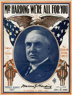 """Mr. Harding We're All For You"" - Sheet music from Warren Harding's 1920 presidential campaign."