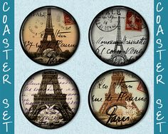 Who doesn't love Paris? Coaster Crafts, Coaster Set, Paris, My Love, Etsy, Design, Montmartre Paris, Paris France, Design Comics
