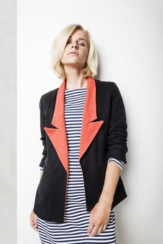 Červenočerné sako – MOLO7 Blazers, Jackets, Women, Fashion, Down Jackets, Moda, Fashion Styles, Blazer, Fashion Illustrations