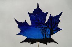 Items similar to Ursa Major- original miniature landscape acrylic painting on real maple leaf on Etsy Leaf Paintings, Ursa Major, Painted Leaves, Leaf Art, Painting Inspiration, Art Drawings, Tattoo Ideas, Moose Art, Miniatures