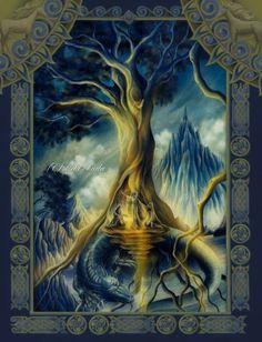 Yggdrasil ou Yggdrasill est l'Arbre-Monde dans la mythologie nordique. Son nom signifie littéralement « destrier du Redoutable », le Redoutable (Ygg) désignant le dieu Odin. Sur lui reposent les ne...                                                                                                                                                                                 Plus