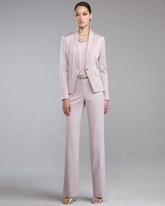 ST. JOHN COLLECTION  Venetian Wool Stand-Collar Jacket, Luxe Crepe Sleeveless Shell, Shelley Stretch-Wool Pants & Metallic Napa Leather Belt
