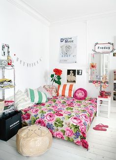totally different fabrics and colors, but love the cozy lounge corner idea for her bedroom