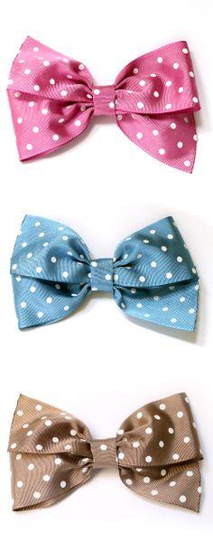 Lazos para el pelo de topos. Bows polka dots.