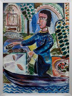 Alpo Jaakola: Mies, 1972, öljy lasille, 96x70,5 cm - Bukowskis F179