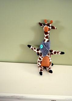 cutie-pa-tootie-pie stuffed giraffe with crocheted scarf