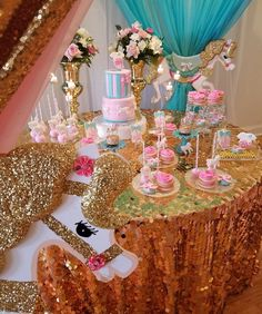 Gold Glitter Carousel Baby Shower Theme TheIcedSugarCookie.com Parties And Balloons E, Once Upon A Banquet, Cakes By Saddie