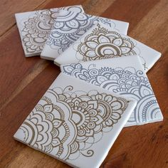 metallic gold and silver sharpie drawing on tile Sharpie Drawings, Sharpie Art, Teen Crafts, Crafts For Teens, Silver Sharpie, Mini Canvas Art, Fabric Yarn, Tile Art, Metallic Gold