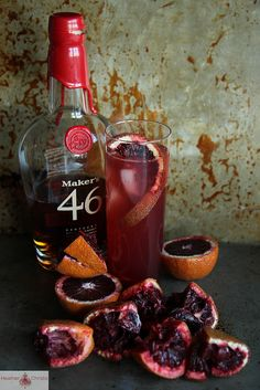 """Blood Orange Bourbon Smash by Heather Christo.,i can tweak to use """" Barenjager & bourbon"""". Mixed Drinks, Fun Drinks, Yummy Drinks, Party Drinks, Alcoholic Drinks, Beverages, Bourbon Smash, Winter Cocktails, Thanksgiving Cocktails"""