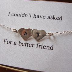 Best Friends Bracelet Hand Stamped Hearts Engraved by lizix26. i want it!