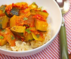 Recipe for spicy vegan zucchini and tomato stew with garlic and mint from The Perfect Pantry