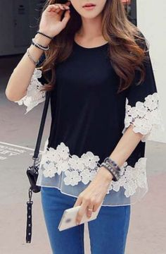 Half Sleeve Lace Splicing T Shirt Black