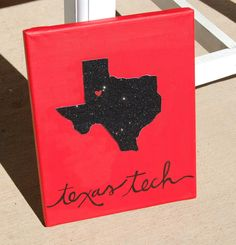 BUT IN TEXAS STATE COLORS!❤️ Texas Tech Glitter Canvas// Customizable// State by KanvasbyKenzie