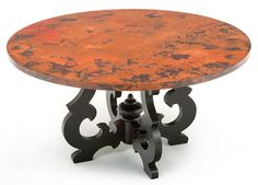 A solid reclaimed wood trestle base supports a hand hammered copper dining table top made custom sizes for rustic, Tuscan, western, Mediterranean decors. Dining Table Copper, Tuscan Furniture, Table, Copper Top Table, Furniture, Copper Furniture, Round Copper Dining Table, Dining, Dining Table