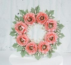 Birthday Cake Topper Pink Flower Wreath