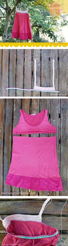 tutorial vestido diy. Convertir una camiseta encogida en un vestido para niña. #diy #vestido #crochet #ganchillo
