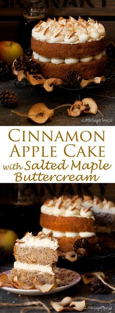 This Cinnamon Apple Cake is a light and bouncy sponge cake loaded with nuggets of home dried apple. Adorned by delectable salted maple buttercream, this is one elegant cake to fall in love with. #applecake #maplebuttercream #cinnamonapple #spicedapplecake