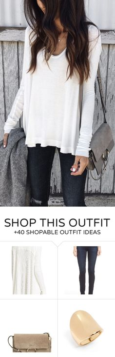 adorable spring outfits / White Knit / Dark Ripped Skinny Jeans / Grey Shoulder Bag
