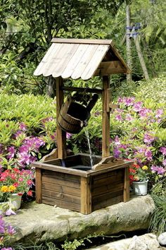 Wishing Well Wood Outdoor Patio Water Fountain with Pump