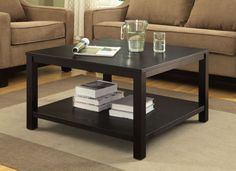 "Merge Black 30"" Square Coffee Table"