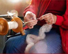 Spinning alpaca fleece